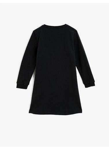 Koton Bisiklet Yaka Uzun Kollu Pullu Elbise Siyah